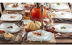 Dinnerware Set 42-Piece Corelle Cherish Square White Plates Dishes Kitchen