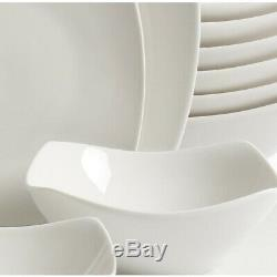 Dinnerware Set Ceramic Soft Square Silhouette, Microwave Safe, White, (40-Piece)