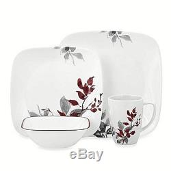 Dinnerware Set Corelle Square 16 Piece Sets White Floral Kitchen Dishes Casual