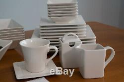 Dinnerware Set For 6 45-Piece White Square Kitchen Banquet Plates Cups Dishes