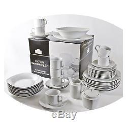 Dinnerware Set Kitchen Dinner Banquet Square White Porcelain 45 Modern Piece