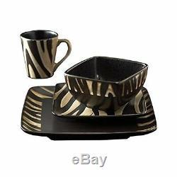 Dinnerware Set Service 4 Stoneware Dishes Safari Zebra Plates Bowls Mugs 16 Pcs
