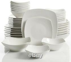 Dinnerware Set Soft Square with Bowl/Cereal/Dinner/Salad Plate, White (40-Piece)