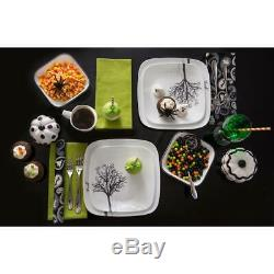 Dinnerware Set Squared Rounded Corners Glass Black Trees 16-Piece Timber Shadows