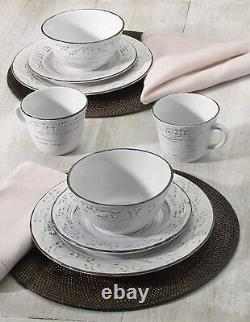 Dinnerware Trellis White 16-Piece Pottery Set for 4 Casual Formal Durable Dishes