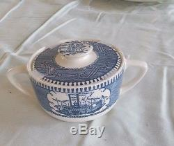 Dinnerware set Currier & Ives Harvest Collection (Blue and White)