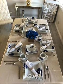 Dinnerware set for 6 The Cellar Whiteware Cobalt Floral & White Square