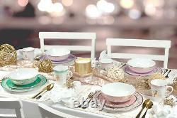 Disney Princess 16-Piece Ceramic Dinnerware Set Tiana, Rapunzel, Aurora, Mulan