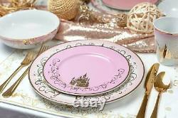 Disney Princess Themed 16 Piece Ceramic Dinnerware Set Collection 2 Plates