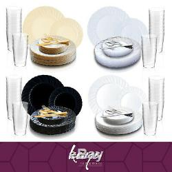 Disposable Plastic Dinnerware Set Wedding Party Package Flared Rim Design Plates
