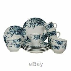 ELAMA TRADITIONAL BLUE ROSE 16 PIECE STONEWARE DISH DINNERWARE SET SERVICE for 4