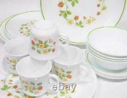 EUC Vtg. 21-pc Corelle STRAWBERRY Sunday SUNDAE DINNERWARE SET withServing Platter