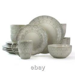 Elama White Lace 16 Piece Round Scallop Stoneware Dinnerware Set in White