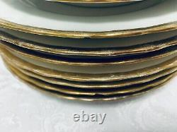 Elite Works Limoges Dinnerware Set 49 pc Antique Gold Ruffled Band Service for 7