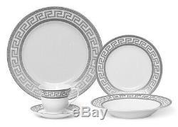 Euro Porcelain 20-pc White Dinnerware Set Service for 4, Platinum Greek Key