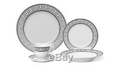Euro Porcelain 57-pc Dinnerware Set'Greek Key Silver' 24K Banquet Service for 8