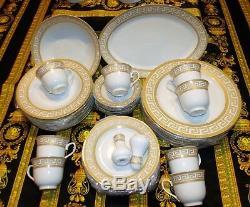 European Retro Style Greek Key Design Luxury White/Gold Dinnerware Set 49 Pieces