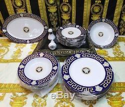 European Retro Style Greek Key/Medusa Luxury Blue/Gold Dinnerware Set 28 Pieces