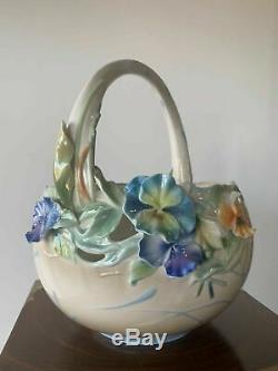 FZ01097 Franz Porcelain Full Bloom Pansies basket ltd rare new in the box