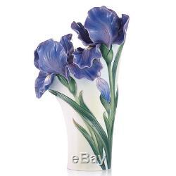 FZ03422 Franz porcelain new intro iris design vase blue floral white green cool