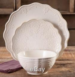 Fancy Dinner Plates Off White Dinnerware Set Dishes Rustic Stoneware Farmhouse