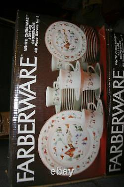 Farberware White Christmas 40 PC SET Dinnerware 8 PLACE SETTINGS Complete MIB
