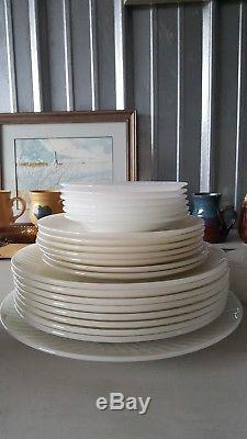 Federal Glass 26 Piece Set White Opalescent Moonglow Iridescent Dinnerware