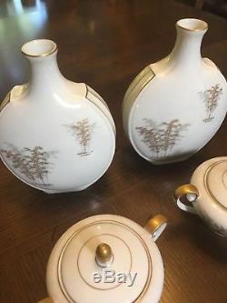 Fukagawa Arita Gold Bamboo China Dinnerware 51 Pieces