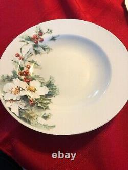 Gibson Poinsettia 40 Pce Dinnerware Set 8 Settings, Dinner Plate Cup Saucer Bowl