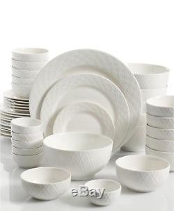 Gibson White Elements Lexington 42 Piece Embossed Dinnerware Set
