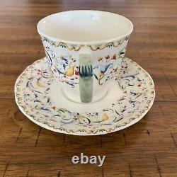 Gien TOSCANA 5 Flat Cups & Saucers Multi-Color Floral Scroll Scallop Edge France