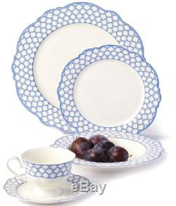 Godinger Bristol Blue Scalloped Bone China 40-piece Dinnerware Set Service for 8