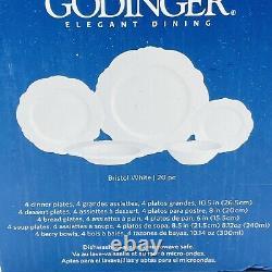 Godinger Bristol Bone China 20-PC Dinnerware Plate Set Service for 4 White NEW