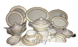 Gold Wreath 62 pc Dinnerware Set Super White Porcelain Service for 6