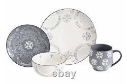Gray & White Dinnerware Set Stoneware Plates Bowls Mugs Service for 8 32 Pieces