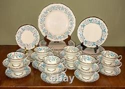 Grosvenor Debutante Bone China Dinnerware 45 Pc Set Tiffany Blue/Grey/Gray Plat