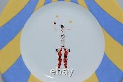 HERMES Le Clown Circus 8.07 Plate White Yellow Blue Porcelain Les Jongleurs