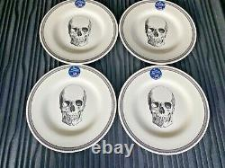 Halloween Skull Royal Stafford England 12 pc SET Dinnerware Plates Bowls NEW