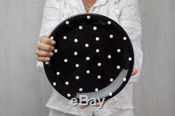 Handmade Black and White Polka Dot Ceramic Dinnerware Set, Dinning Set for Four