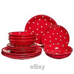 Handmade Red & White Polka Dot Ceramic Dinnerware Set, Dinning Set for Four