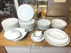 Haviland Limoges France Rare Art Deco Modernist 45 Pieces Dinnerware set Silver