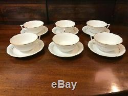 Herend Golden Edge Fine China Scalloped Cups and Saucers Model #734, Set of 6