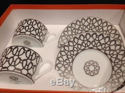 Hermes, Fil D'argent (Silver Thread) White Tea Cup and Saucer Set Of 2