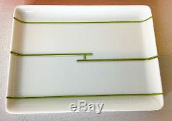Hermes Paris BNIB Rhythm pattern green & silver striped H white porcelain tray