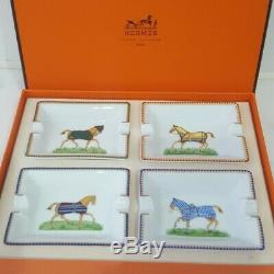 Hermes Porcelain Set of 4 Mini Ashtray Horse Change tray Dinnerware R20