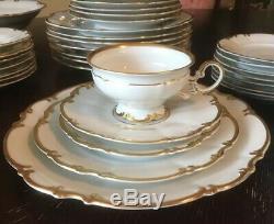 Hutschenreuther Selb Sylvia Brighton White Gold 8 Place Setting Dinnerware 45 Pc