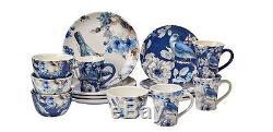 Indigold 16-Piece Dinnerware Set, Blue, White, Dinner, Salad Plate, Mugs, Bowls