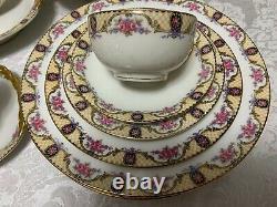 J POUYAT Limoges DINNERWARE SET 1920 Pink Rose Yellow Lattice 50pc Antique Deco