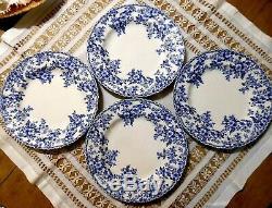 Johnson Brothers Devon Cottage 12pc Blue & White Floral Porcelain Dinnerware Set