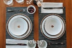 Jurassic Park Logo 16-Piece Ceramic Dinnerware Set Replica Plates, Bowls, Mugs